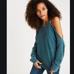 NEW AEO Cold Shoulder Cut Out Slouchy Sweatshirt
